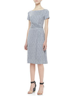 Tory Burch Edna Draped Silk Dress