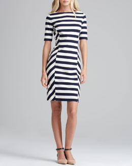 Tory Burch Augusta Fitted Striped Dress