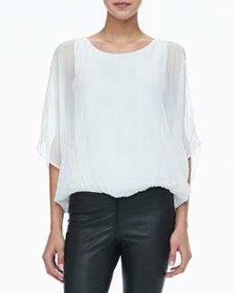 Alice + Olivia Sheer-Sleeve Batwing Top