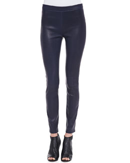J Brand Jeans Leather Pull-On Leggings, Black Amethyst