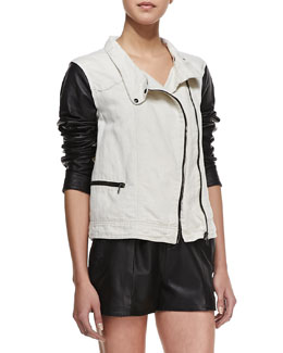 rag & bone/JEAN Twill and Leather Moto Jacket