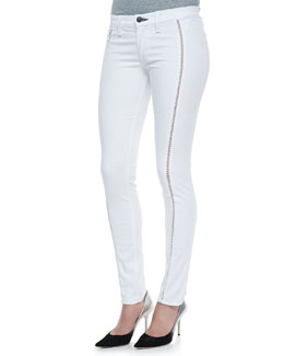 rag & bone/JEAN Split Separating Stitch Leggings, Bright White