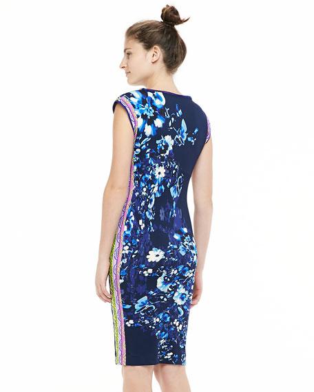 Cap-Sleeve Jersey Dress, Blue/Multicolor
