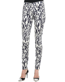 7 For All Mankind Ikat-Print Skinny Pants