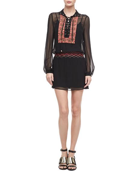 Threadwork-Panel Chiffon Dress
