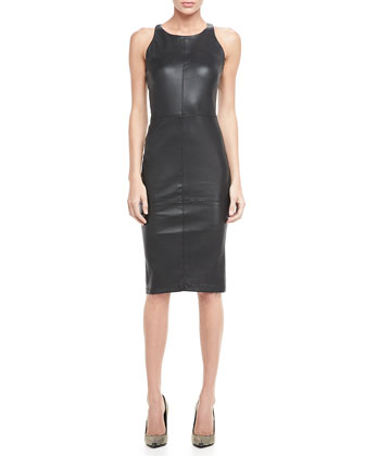 Delon Fitted Leather Dress