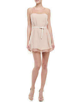 Elizabeth and James Adalde Belted Sheer-Trim Dress