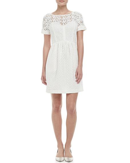 Camilla Lace-Overlay Bubble-Skirt Dress