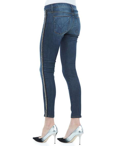 Luna Glam Side-Stripe Skinny Jeans