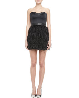 Milly Feather-Skirt Strapless Dress