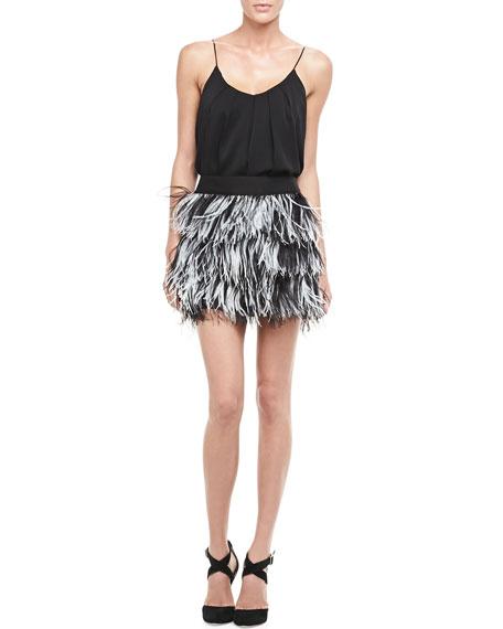 Tiered Ostrich-Feather Miniskirt
