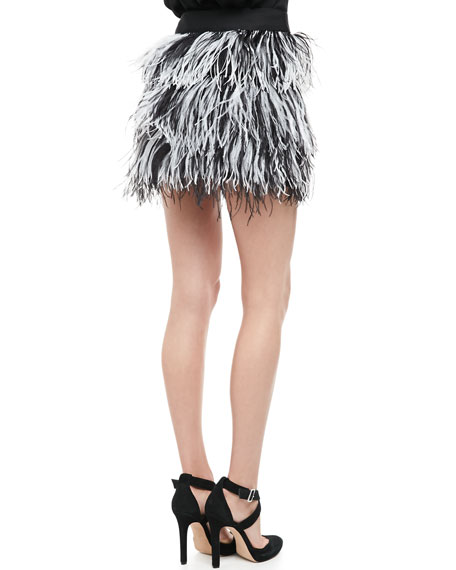 Tiered Ostrich-Feather Miniskirt