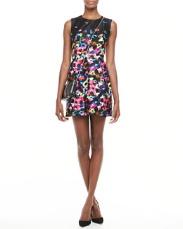 Milly Graffiti-Flower Satin Dress
