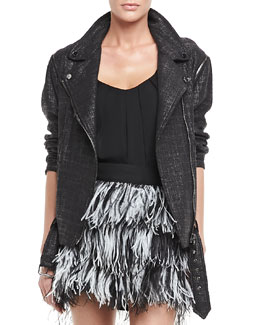 Milly Oversize Tweed Moto Jacket
