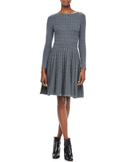 Milly Cable-Knit Flared Dress