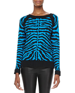 Milly Zebra-Stripe Knit Sweater