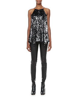 Milly Sequined Uneven-Hem Tank