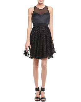 Milly Lace-Skirt Party Dress