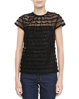Milly Lace Cap-Sleeve Top