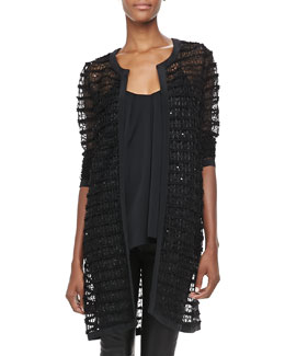 Milly Long Sheer Lace Jacket