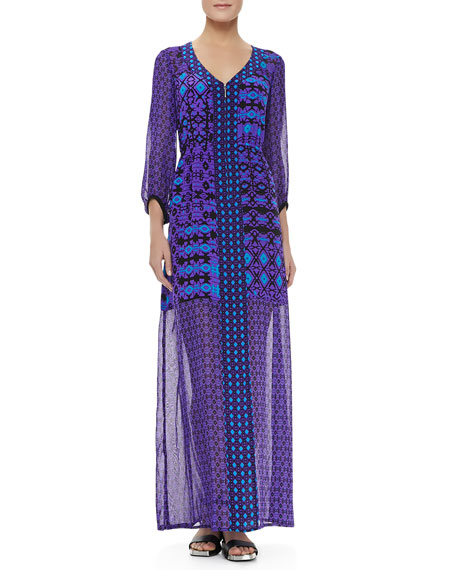 Sheer-Sleeve/Skirt Dress, Violet Multicolor
