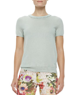 Tory Burch Michaela Short-Sleeve Cashmere Sweater, Desert Green