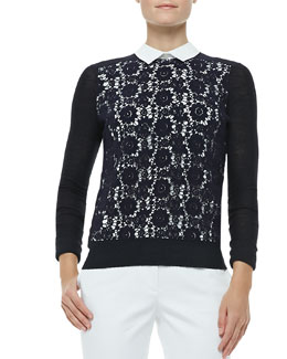 Tory Burch Sandy Lace-Front Sweater