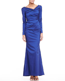 Talbot Runhof Long-Sleeve Asymmetric Satin Gown