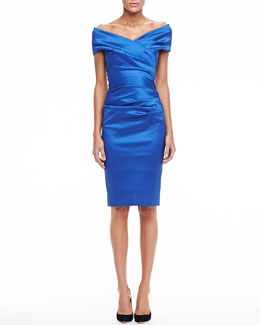 Talbot Runhof Off-the-Shoulder Ruched Cocktail Dress