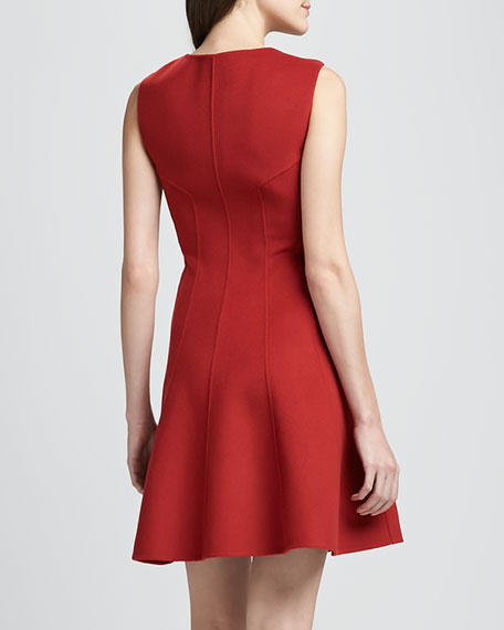 Bonbi Front-Zip Flared Dress