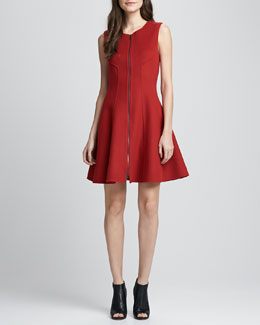 Theory Bonbi Front-Zip Flared Dress