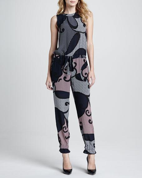 Hendrina Printed Silk Jumpsuit