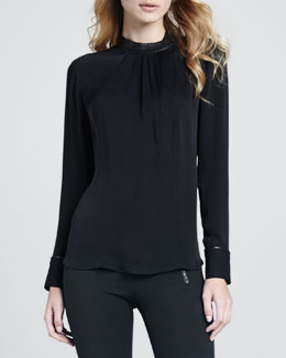 Theory Kyna Leather-Trim Blouse