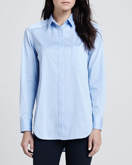 Theory Fedele Button-Front Blouse
