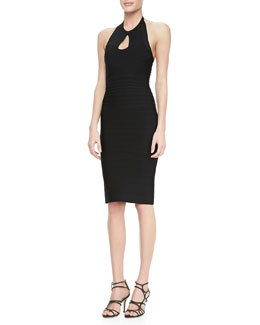 Herve Leger Halter Cutout Bandage Dress