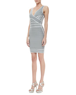 Herve Leger Contrast-Scallop Bandage Dress