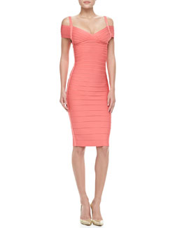 Herve Leger Off-The-Shoulder Bandage Dress, Hibiscus