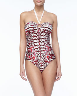 Jean Paul Gaultier Tattoo-Print Halter One-Piece Swimsuit