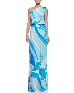 Emilio Pucci Fenice-Print One-Shoulder Long Dress
