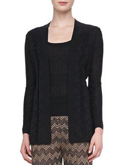 M Missoni Long Zigzag Knit Cardigan