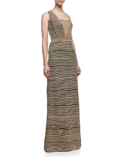 M Missoni Metallic Hexagon-Stripe Maxi Dress