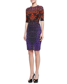 M Missoni Metallic Lizard Jacquard Half-Sleeve Dress