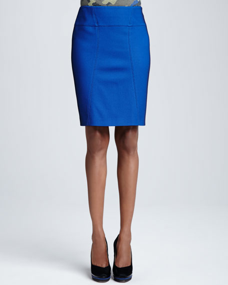 Pique Pencil Skirt, Royal
