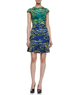 M Missoni Cap Sleeve Zebra Jacquard Dress, Multicolor