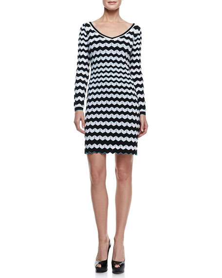 Bicolor Zigzag Dress, Black/White/Aqua