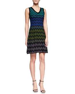 M Missoni Multicolor Zigzag V-Neck Dress