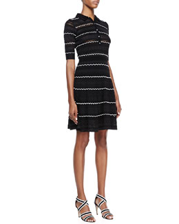 M Missoni Textured-Knit Flared Dress