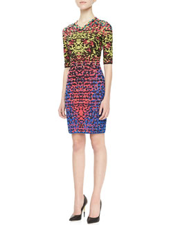 M Missoni Lizard-Print Jacquard Half-Sleeve Dress