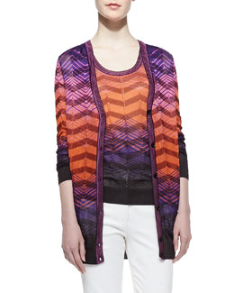 M Missoni Bias-Plaid Long-Sleeve Cardigan