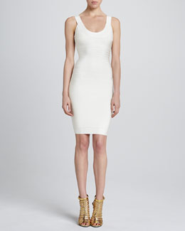 Herve Leger Basic Scoop-Neck Bandage Dress, Papyrus